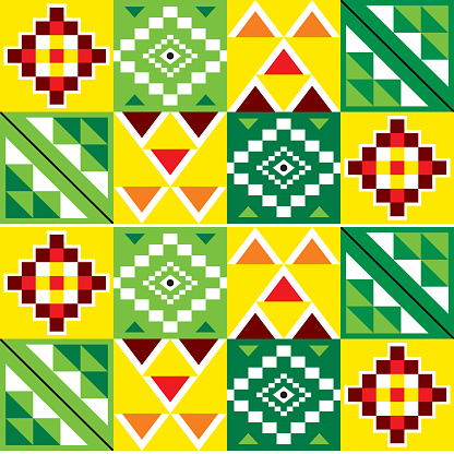 Kente nwentoma cloth style vector seamless pattern with geometric motif in green, red and yellow inspired by African tribal fabrics or textiles from Ghana