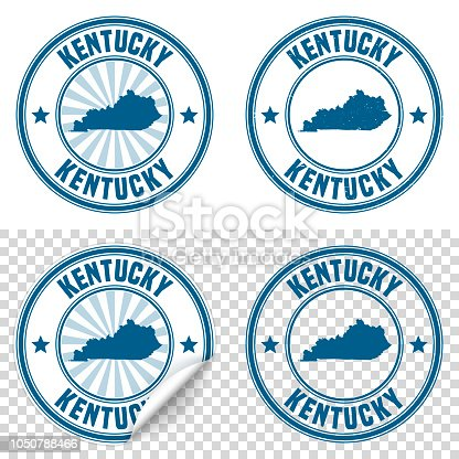 Map of Kentucky on a blue sticker and a blue rubber stamp. They are composed of the map in the middle with the names around, separated by stars. The stamp at the top right is created in a vintage style, a grunge texture is added to create a vintage and realistic effect. Vector Illustration (EPS10, well layered and grouped). Easy to edit, manipulate, resize or colorize. Please do not hesitate to contact me if you have any questions, or need to customise the illustration. http://www.istockphoto.com/portfolio/bgblue
