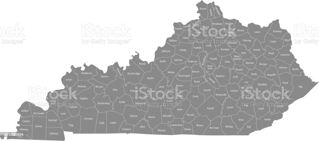 Kentucky county map vector outline illustration in gray background
