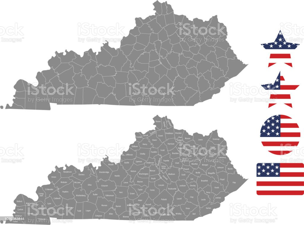 Kentucky County Map Vector Outline In Gray Background Kentucky State Of Usa  Map With Counties Names Labeled And United States Flag Vector Illustration  ...