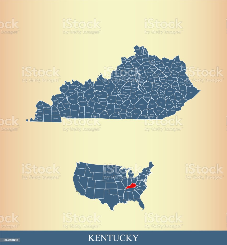Kentucky County Map Vector Outline With Counties Names Labeled And ...