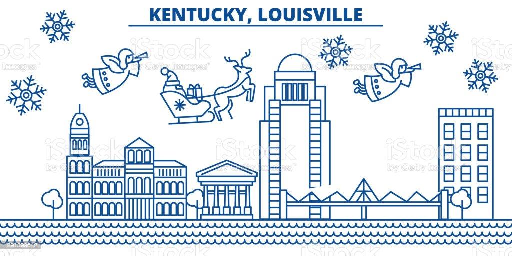 Usa Kentucky Louisville Winter City Skyline Merry Christmas And ...