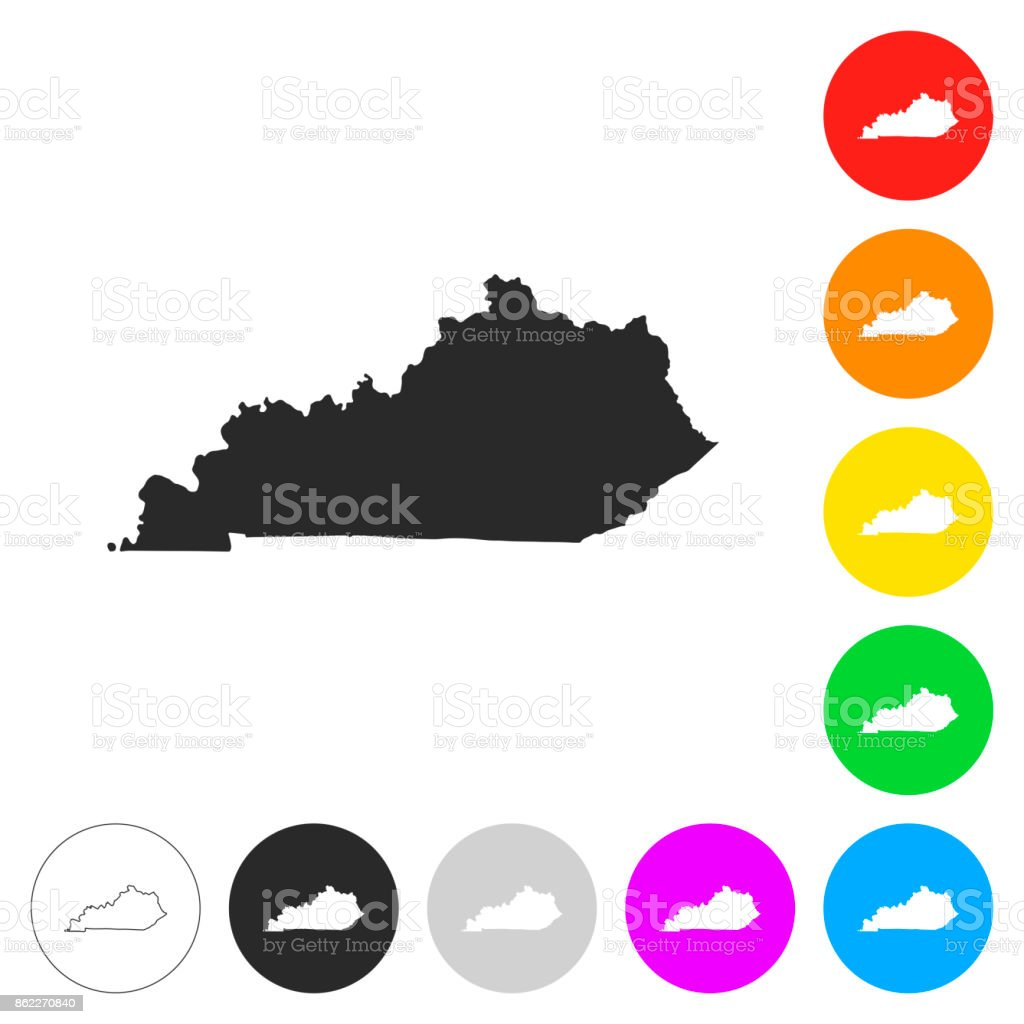 Kentucky map - Flat icons on different color buttons