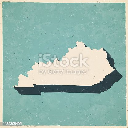 Map of Kentucky in a trendy vintage style. Beautiful retro illustration with old textured paper and a black long shadow (colors used: blue, green, beige and black). Vector Illustration (EPS10, well layered and grouped). Easy to edit, manipulate, resize or colorize.