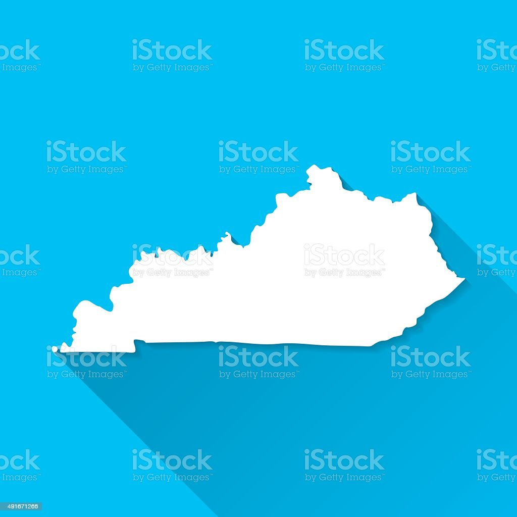 Kentucky Map on Blue Background, Long Shadow, Flat Design