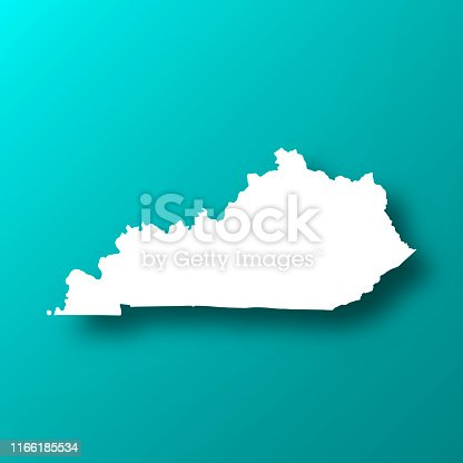 White map of Kentucky isolated on a trendy color, a blue green background and with a dropshadow. Vector Illustration (EPS10, well layered and grouped). Easy to edit, manipulate, resize or colorize.