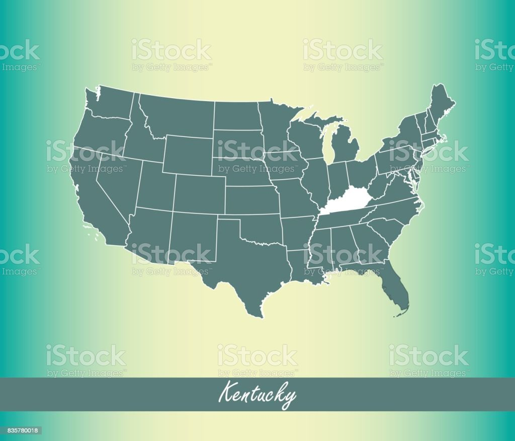 Kentucky Map Vector Outline Illustration Highlighted In Us Map - Us map vector free