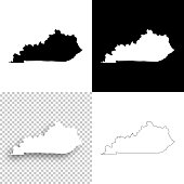 Kentucky maps for design - Blank, white and black backgrounds