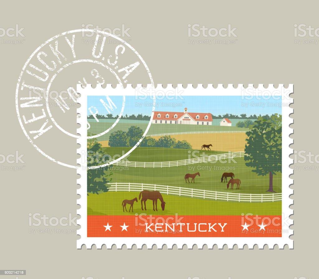 Kentucky postage stamp design. Grunge postmark on separate layer.