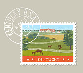Kentucky postage stamp design. Grunge postmark on separate layer.