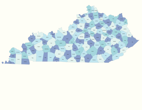 Detailed state-county map of Kentucky. This file is part of a series of state/county maps.  Each file is constructed using multiple layers including county borders, county names, and a highly detailed state silhouette. Each file is fully customizable with the ability to change the color of individual counties to suit your needs.  Zip contains both .AI_CS2 and .ESP_8.0 as well as a large JPEG file.  Map generated using data from the public domain.  (http://www.census.gov/geo/www/tiger/) Traced using Adobe Illustrator CS2 on 7/28/2006. 3 data layers.
