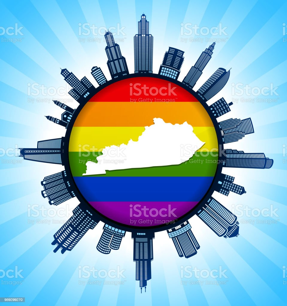 Kentucky State Map On Pride City Skyline Background Stock ... on kentucky counties and cities, map of ky with cities, kentucky us map with cities, printable map of kentucky cities, kentucky tennessee map with cities, ky state map with cities,