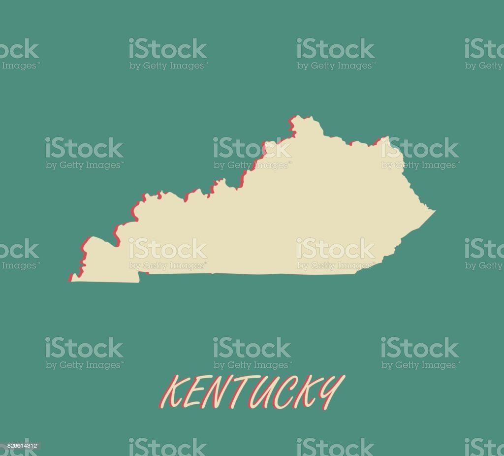 Kentucky State Of Us Map Vector Outlines In A 3d Illustration ...