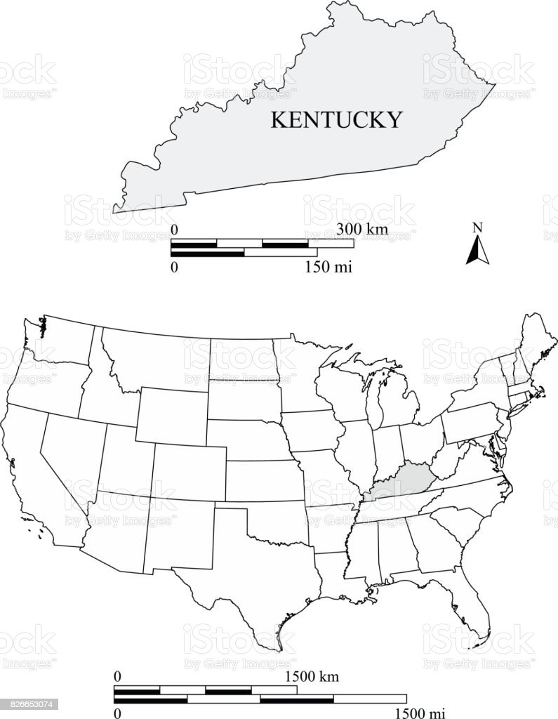 Kentucky State Of Usa Map Vector Outline With Scales Of Miles And