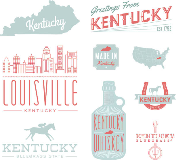 Kentucky Typography A set of vintage-style icons and typography representing the state of Kentucky, including Louisville. Each items is on a separate layer. Includes a layered Photoshop document. Ideal for both print and web elements. horseshoe stock illustrations