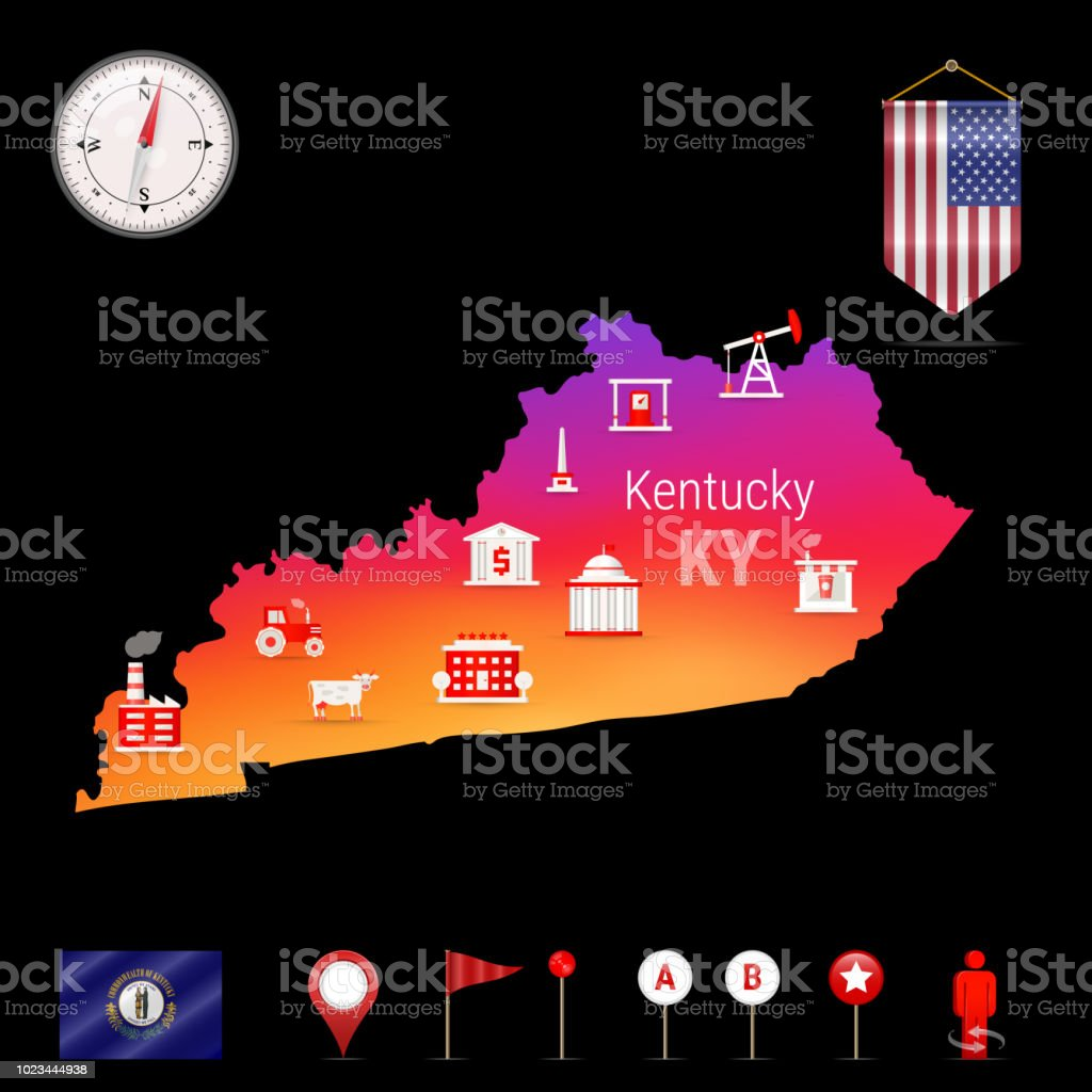 Kentucky Vector Map Night View Compass Icon Map Navigation Elements