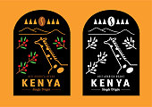 Kenya coffee bean label design with giraffe in coffee garden vector illustration