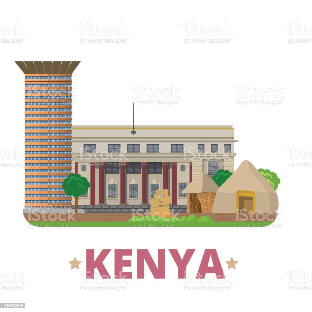 Kenya country flat cartoon style historic sight vector illustration world vacation travel africa collection