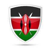 Kenya Flag Vector Shield Icon - Illustration