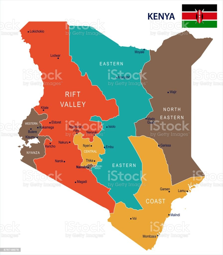 Kenya Map And Flag Detailed Vector Illustration Stock