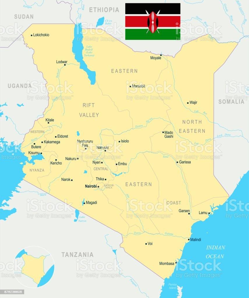 Kenia Karte.Kenia Karte Detaillierte Vektorillustration Stock Vektor Art Und