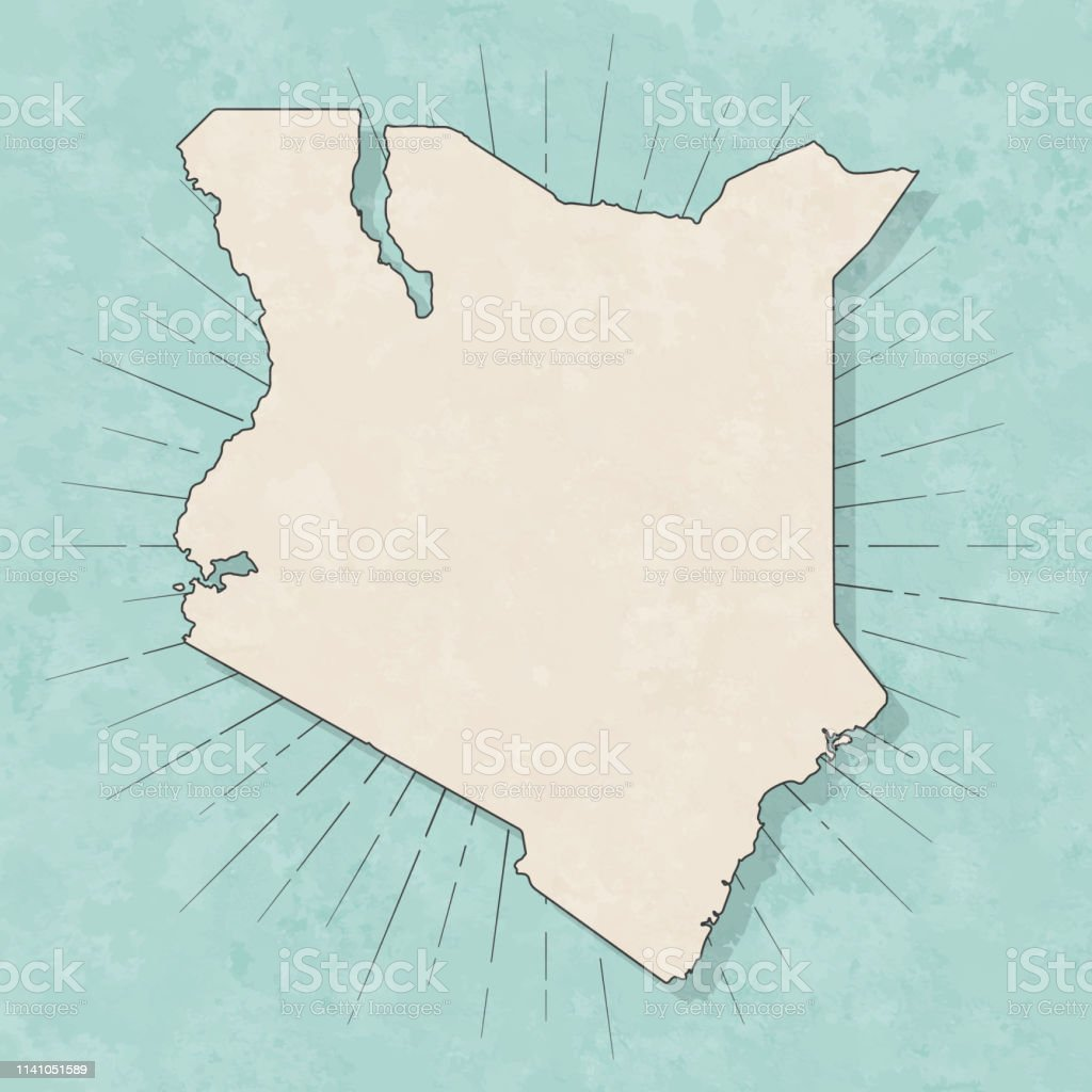 Map of Kenya in a trendy vintage style. Beautiful retro illustration...