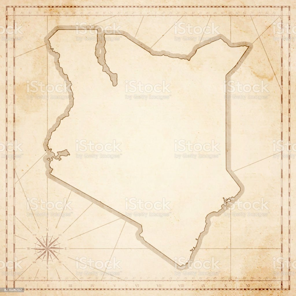 Kenya Map In Retro Vintage Style Old Textured Paper Stock Vector - Kenya physical map