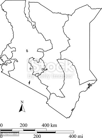 Kenya Map Outline Vector With Scales In A Blank Design