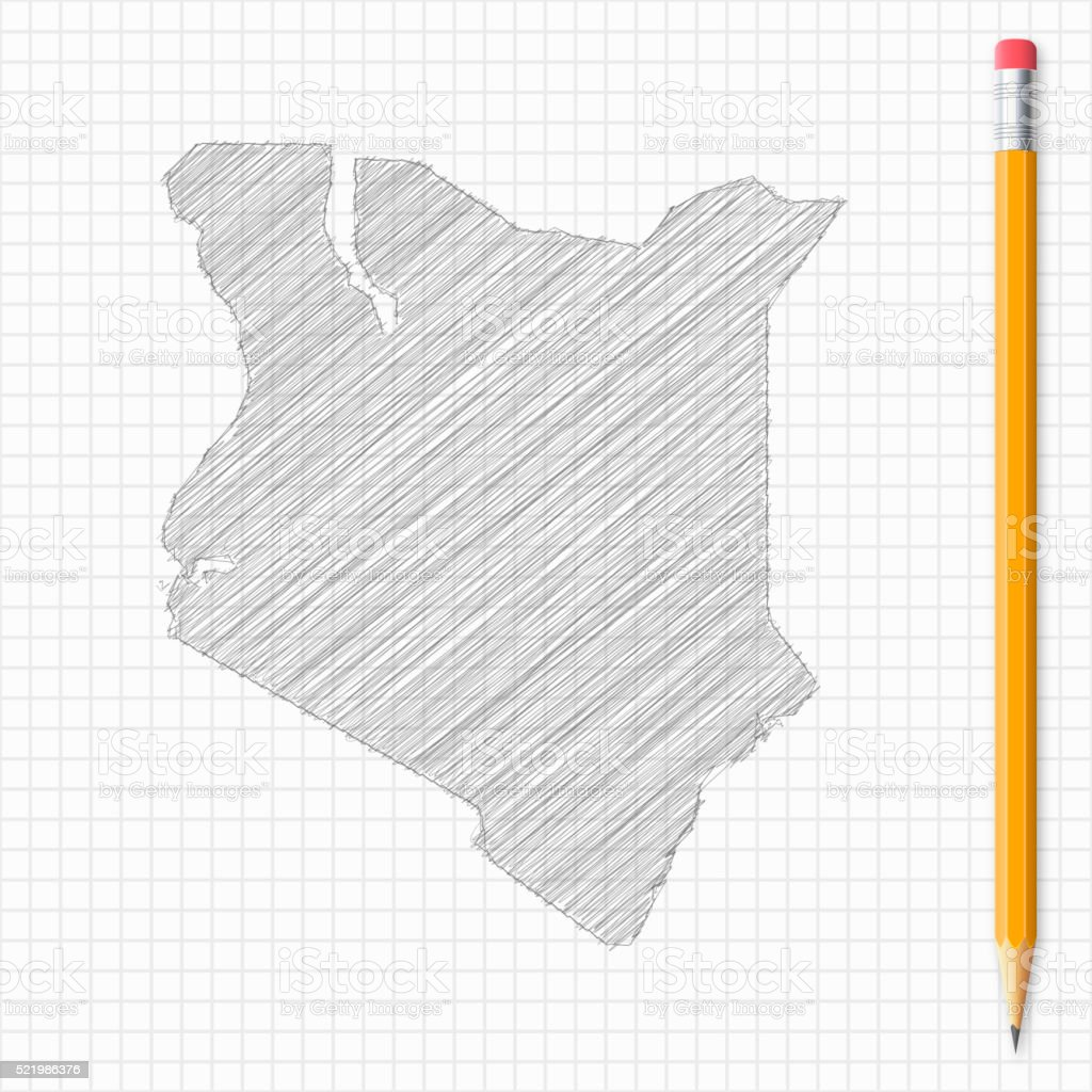 Kenya map sketch with pencil on grid paper royalty free kenya map sketch with pencil