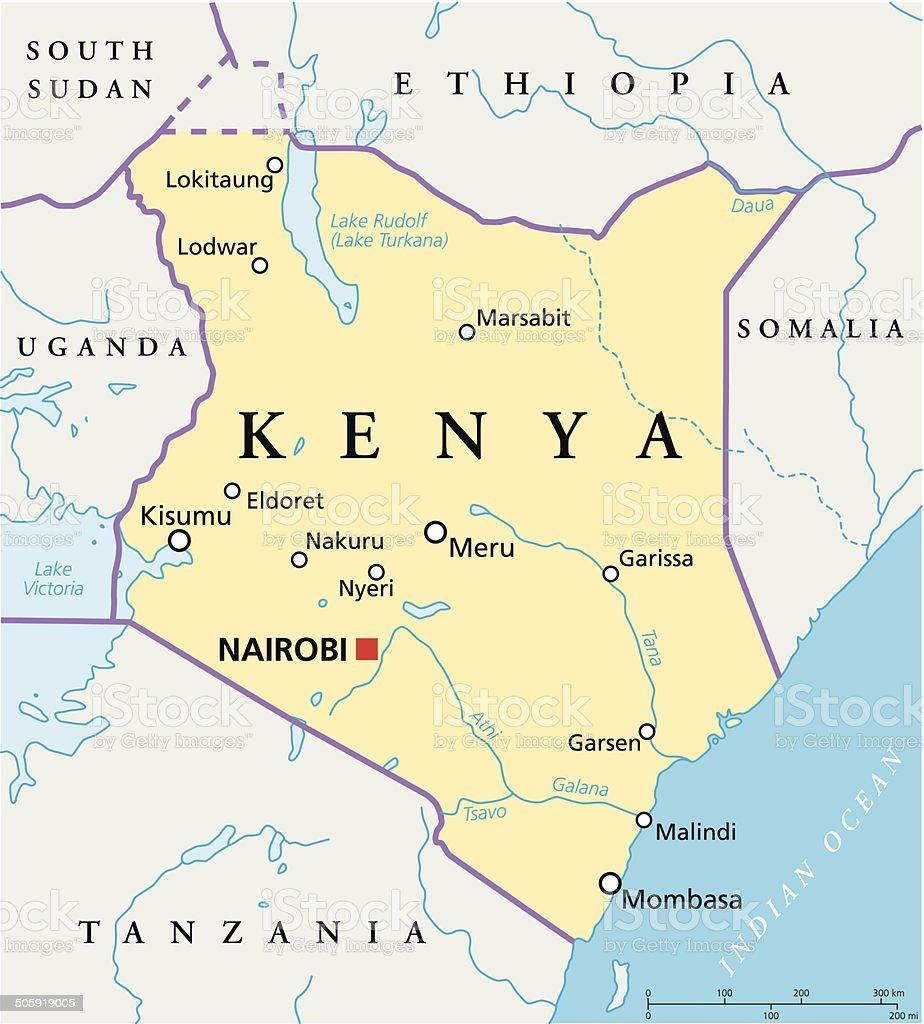 Kenya Political Map royalty-free stock vector art