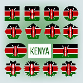 Kenya Various Shapes Vector National Flags Set
