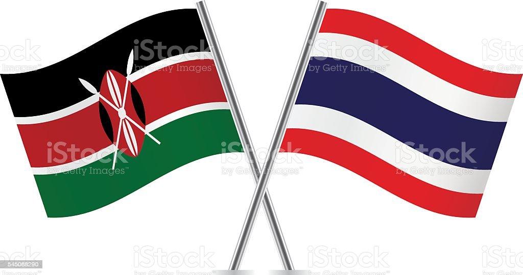 ケニアとタイ旗ます。ベクトルます。 ベクターアートイラスト