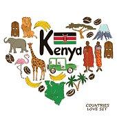 Kenyan symbols in heart shape concept
