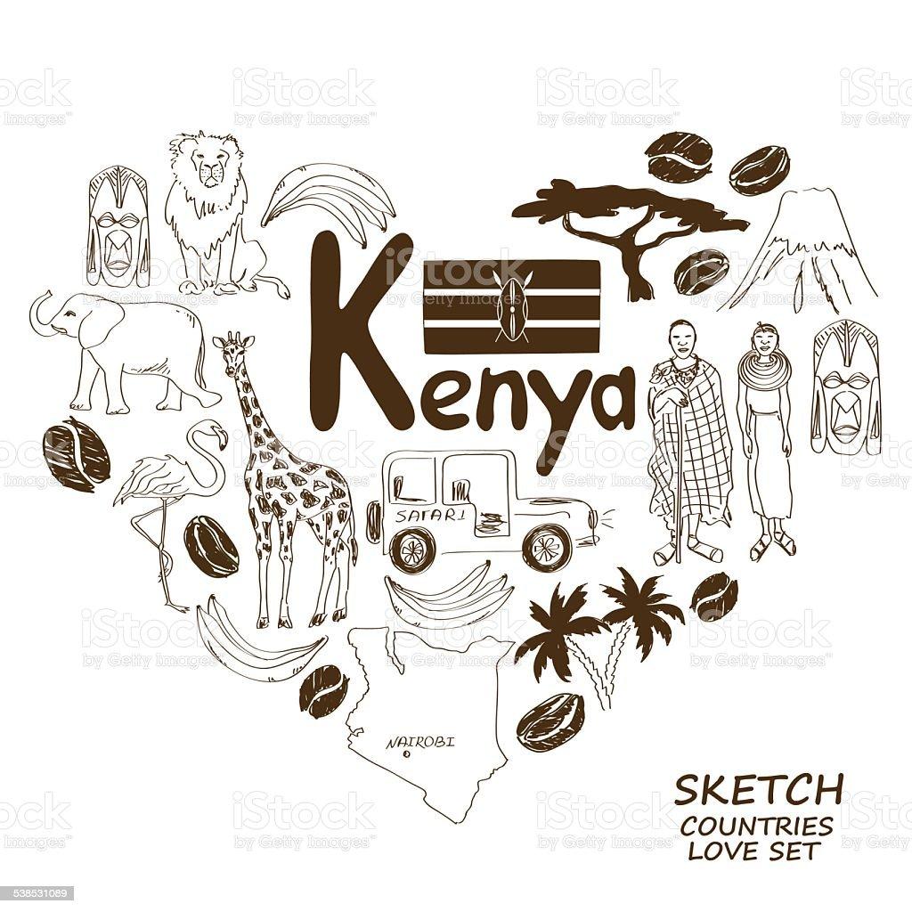 Kenyan Symbols In Heart Shape Concept Stock Vector Art More Images
