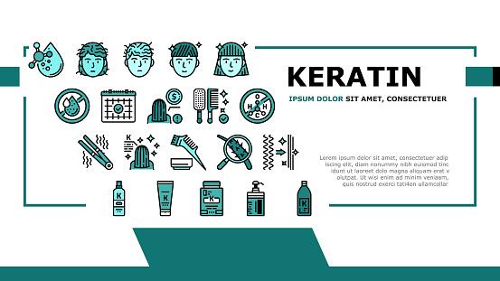 Keratin Hair Procedure Landing Header Vector