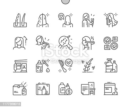 istock Keratin hair treatment Well-crafted Pixel Perfect Vector Thin Line Icons 30 2x Grid for Web Graphics and Apps. Simple Minimal Pictogram 1177358015