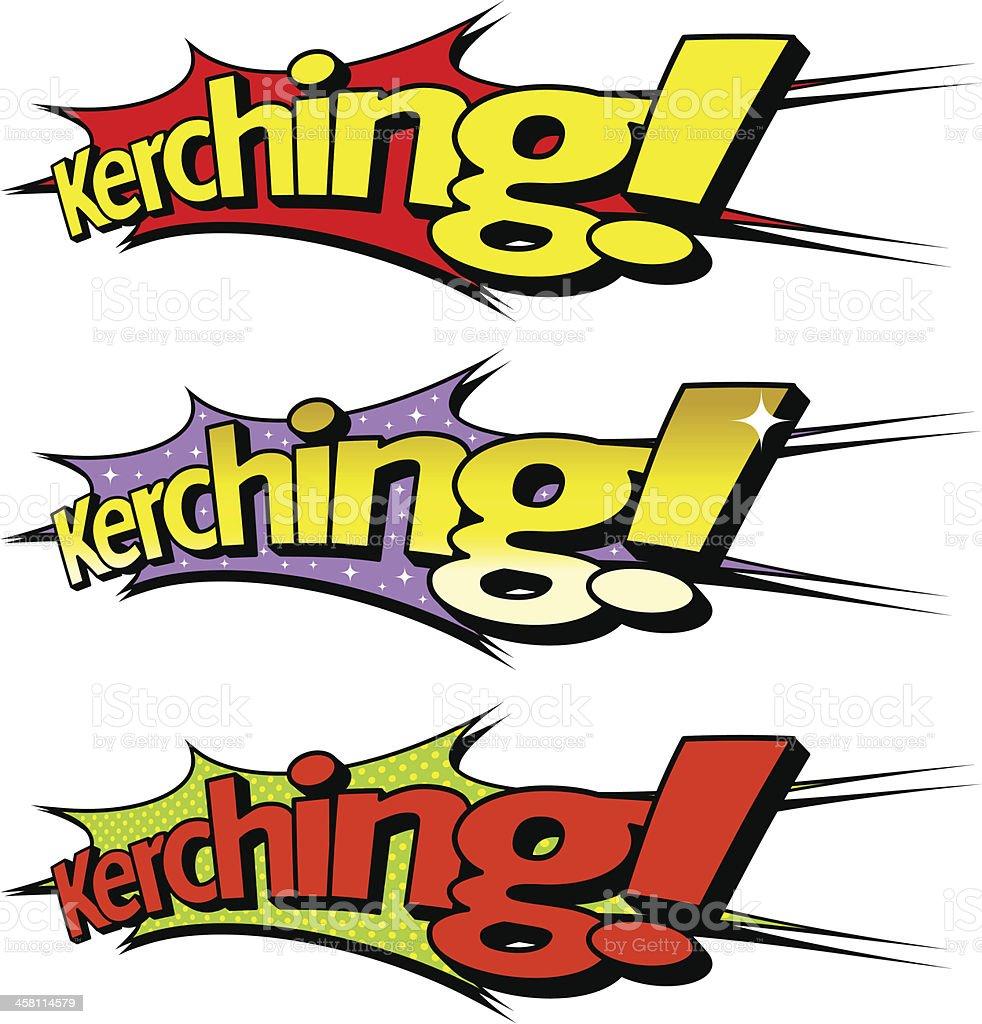 Kerching! Pop-art, cartoon style royalty-free stock vector art