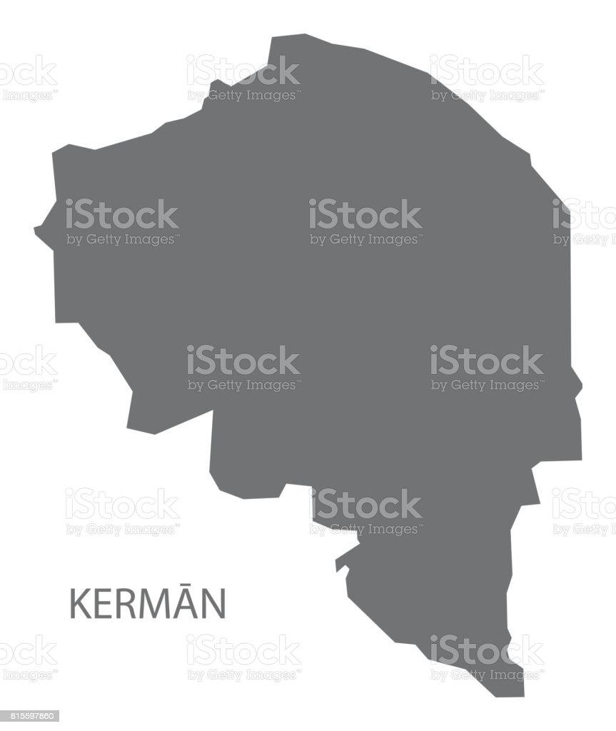 Kerman Iran Region Map Grey Illustration Silhouette Shape Stock