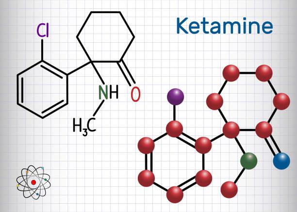 stockillustraties, clipart, cartoons en iconen met ketamine molecuul. het wordt gebruikt voor anesthesie in de geneeskunde. structurele chemische formule en molecuul model. vel papier in een kooi - ketamine