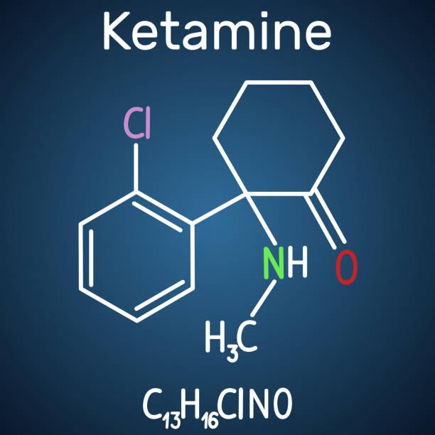 stockillustraties, clipart, cartoons en iconen met ketamine molecuul. het wordt gebruikt voor anesthesie in de geneeskunde. structurele chemische formule en molecuul model op de donker blauwe achtergrond - ketamine