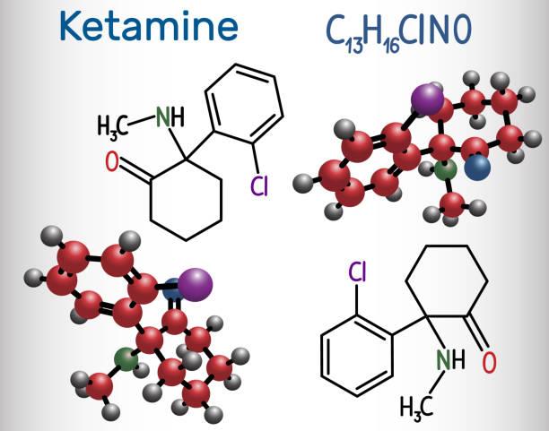 stockillustraties, clipart, cartoons en iconen met ketamine molecuul. het wordt gebruikt voor anesthesie in de geneeskunde. structurele chemische formule en molecuul model - ketamine