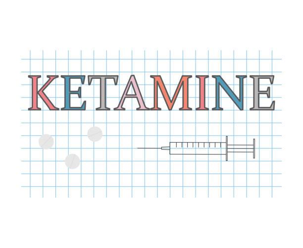 stockillustraties, clipart, cartoons en iconen met ketamine woord op geruit papier vel - ketamine