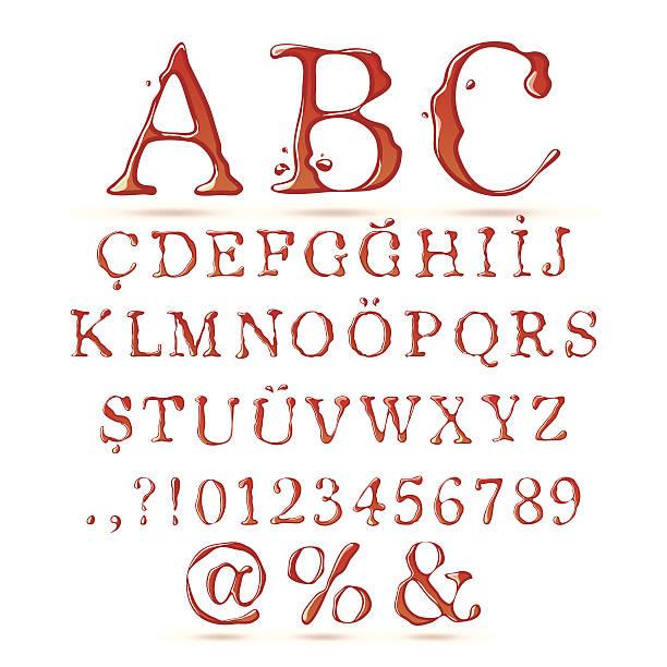 ketchup alphabet upper case - vegetable blood stock illustrations, clip art, cartoons, & icons