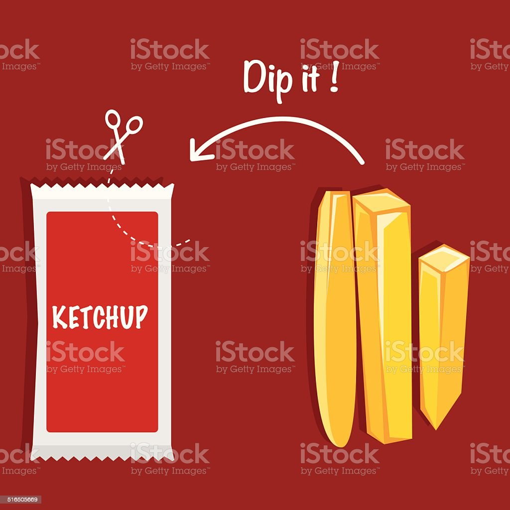 Ketchup and French fries VECTOR ILLUSTRATION vector art illustration