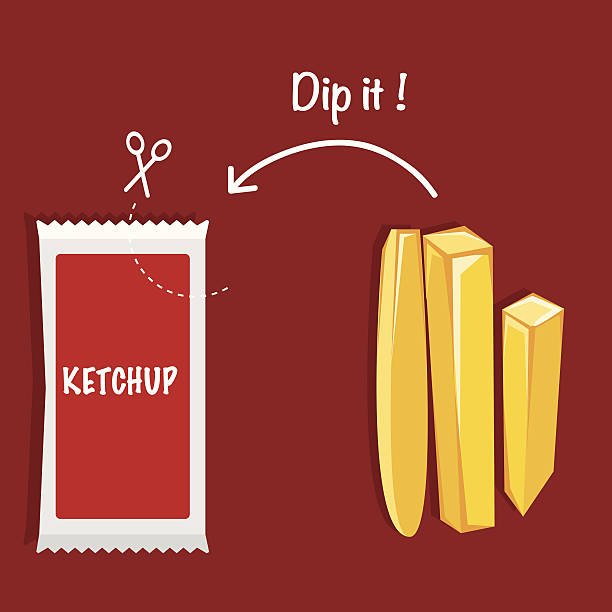 Ketchup and French fries VECTOR ILLUSTRATION Ketchup and French fries VECTOR ILLUSTRATION tomato sauce stock illustrations