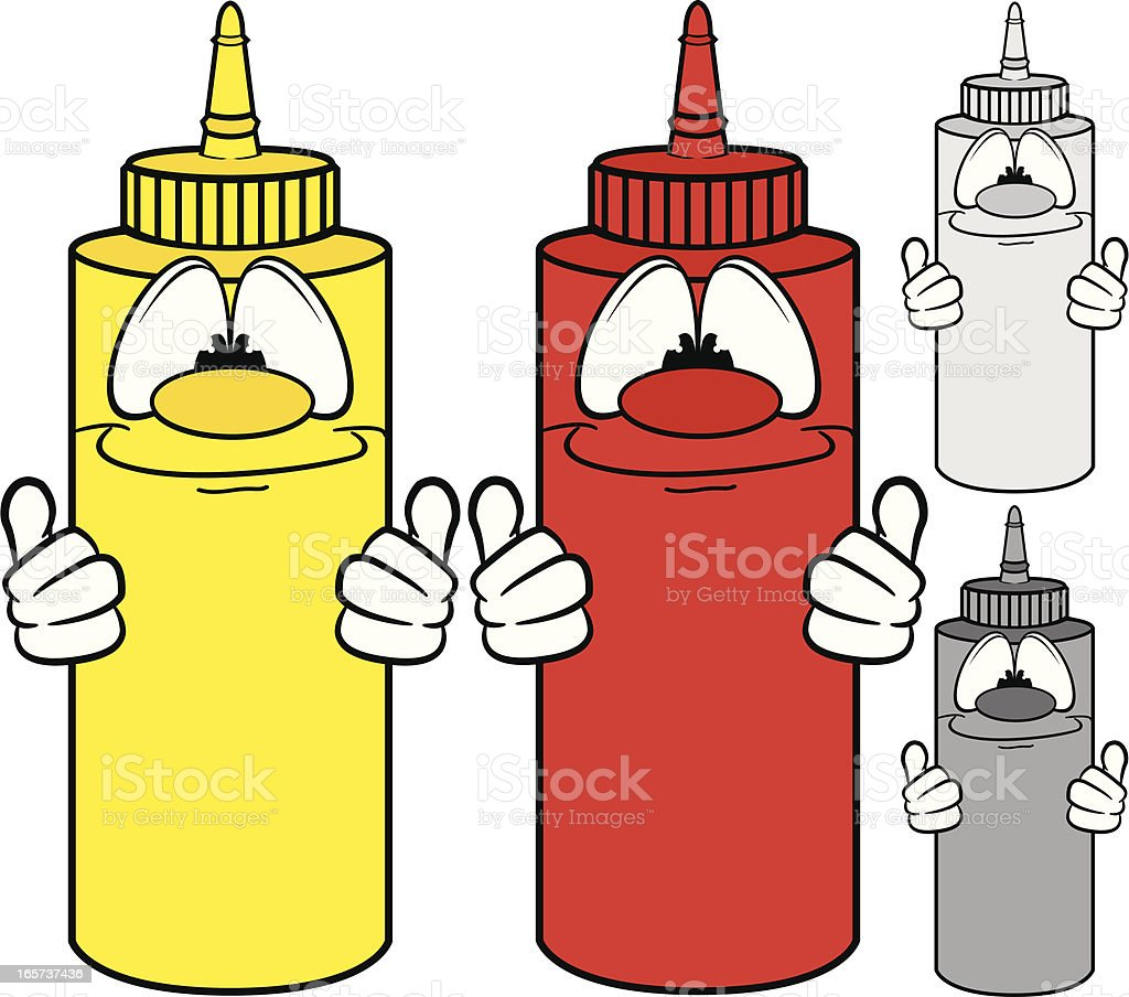 Ketchup and Mustard Bottle Characters royalty-free ketchup and mustard bottle characters stock vector art & more images of bottle