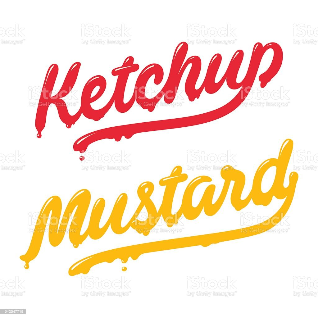 Ketchup and mustard lettering vector art illustration