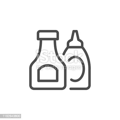 Ketchup and sauce line outline icon isolated on white. Vector illustration