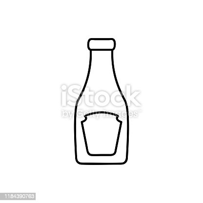 Ketchup Bottle line icon, outline vector sign, linear pictogram isolated on white. logo illustration