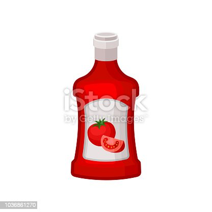 Ketchup in red plastic bottle with label. Natural product. Tasty liquid condiment for dishes. Decorative element for advertising poster or banner. Colorful flat vector illustration isolated on white.